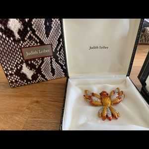 Judith Leiber vintage hummingbird brooch 24k gold